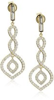 Crislu 18k Gold Vermeil Sterling Silver Art Deco Style Cubic Zirconia Dangle Drop Earrings
