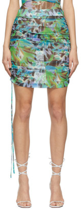 KIM SHUI SSENSE Exclusive Green Mesh Ruched Skirt