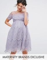 Chi Chi Maternity Chi Chi London Maternity Lace Dress With Tulle Skirt