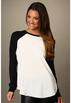 Rebecca Taylor Colorblock Blouse (Cream/Black) - Apparel