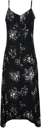 Wallis Black Floral Print Frill Maxi Dress