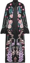 Temperley London Woodland Satin-trimmed Embroidered Silk-chiffon Midi Dress - Black