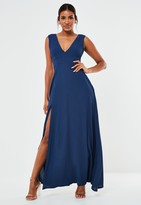 Missguided Navy Crepe Plunge Maxi Bridesmaid Dress