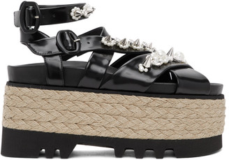 Simone Rocha Black Leather Pearl Platform Sandals