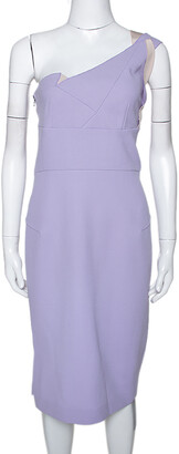 Roland Mouret Lavender Wool Crepe One Shoulder Aglais Dress M