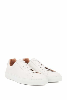 HUGO BOSS Womens Katie Low Cut-C Low-Profile Trainers in Italian Leather Size 3 White