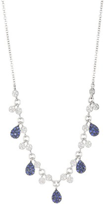 Meira T 14K White Gold, Diamond & Sapphire Pear Drop Charm Necklace