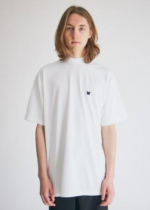 Needles Men's Short Sleeve Mock Neck T-Shirt in White, Size Medium