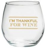 Kate Aspen Set of 4) I'm Thankful for Wine 15oz. Stemless Wine Glass