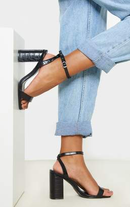 PrettyLittleThing Black Croc Wide Fit Chunky Block Heel Strappy Sandal
