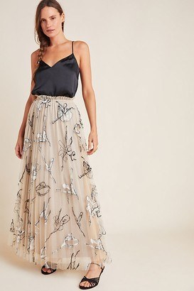 Geisha Designs Pleated Tulle-Embroidered Maxi Skirt