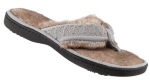 Isotoner Signature Isotoner Faux Fur Sage Thong Slippers