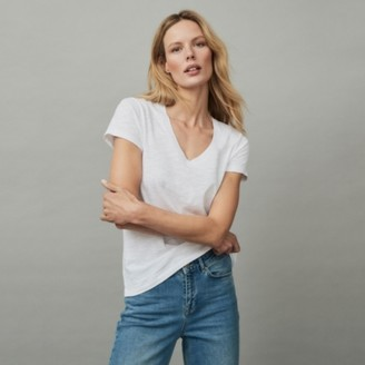 The White Company Organic Cotton Jersey V-Neck T-Shirt, White, 12