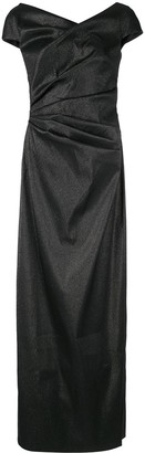 Talbot Runhof Ruched Shimmer Gown