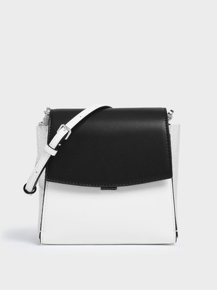 Charles & Keith Two-Tone Textured Angular Crossbody Bag