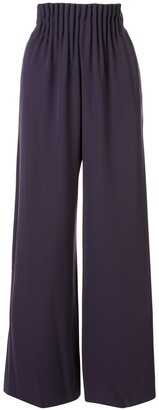Emporio Armani Gathered-Waist Wide-Leg Trousers