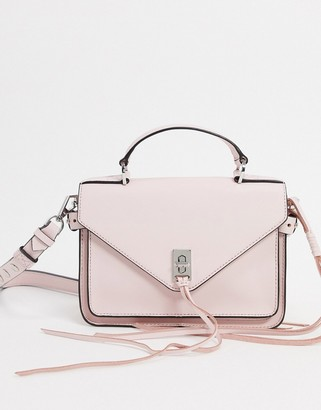 Rebecca Minkoff darren small leather messenger bag with silver clasp in pink