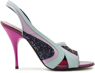 Emilio Pucci Glittered Pvc-paneled Leather Slingback Sandals