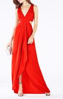 BCBGMAXAZRIA Elinne Cutout Pleated Jersey Gown