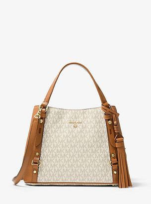 MICHAEL Michael Kors MK Carrie Medium Logo Shoulder Bag - Vanilla/acorn - Michael Kors