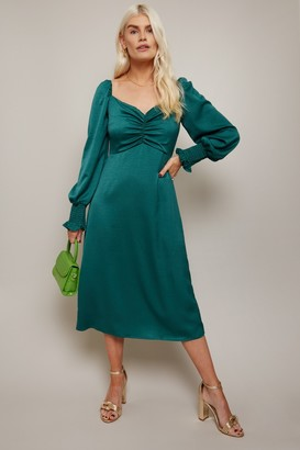 Little Mistress Lima Emerald Green Sweetheart Midi Tea Dress
