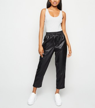 New Look Petite Leather-Look Coated Joggers