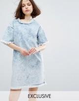 Monki Raw Edge Acid Wash Denim Dress