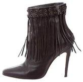 Manolo Blahnik Fringe-Trimmed Ankle Boots