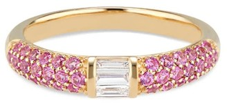 Ri Noor Stacked Half Eternity Band With Pave Set Pink Sapphires & Baguette Diamonds