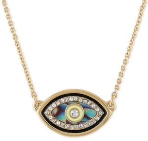 "Rachel Roy Gold-Tone Pave & Stone Evil Eye Pendant Necklace, 16"" + 2"" extender"