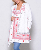 Paparazzi White & Red Embroidery Drape-Front Open Cardigan