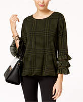 Alfani Houndstooth-Check Ruffle-Sleeve Blouse, Created for Macy's
