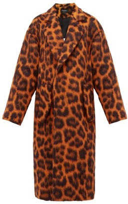 Rochas Oversized Leopard-print Alpaca-blend Coat - Orange Multi