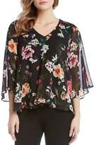 Karen Kane Floral-Print Sheer-Sleeve Top
