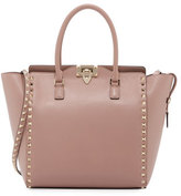 Valentino Rockstud Medium Shopper Tote Bag, Beige