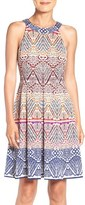 London Times Women's Graphic Jacquard Fit & Flare Dress