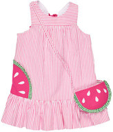 Florence Eiseman Sleeveless Striped Seersucker Sundress w/ Watermelon Bag, Pink, Size 2T-6X