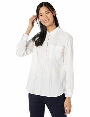 Goodthreads Washed Cotton Popover Shirt White/Cardinal Double Stripe XL