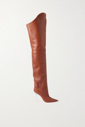 Amina Muaddi Iman Leather Thigh Boots - Camel