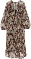 Zimmermann Henna Plissé Printed Silk-georgette Midi Dress - Taupe