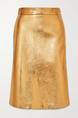 Prada Metallic Textured-leather Skirt - Gold