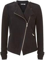 Mint Velvet Black Casual Cotton Zip Biker Jacket