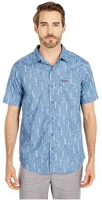 Columbia Summer Chilltm Short Sleeve Shirt (Sky Blue Trees Print) Men's Clothing