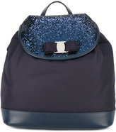 Salvatore Ferragamo Kids - glitter drawstring backpack - kids - Leather/Nylon/Polyester/PVC - One Size