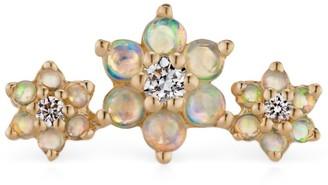 Maria Tash Rose Gold And Diamond Opal Flower Garland Threaded Earring