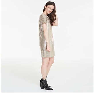 Joe Fresh Women's Sequin Tee Dress, Gold (Size XS)