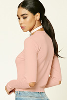 Forever 21 FOREVER 21+ Elbow Cutout Ribbed Knit Top