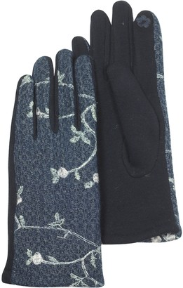 Julia Cocco' Blue Floral Embroidered Touchscreen Women's Gloves