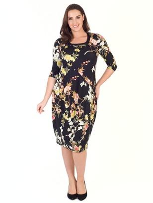 Chesca Oriental Floral Dress, Black
