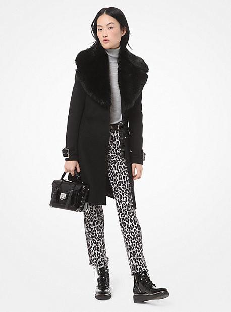 Michael Kors Faux Fur-Collar Wool Coat